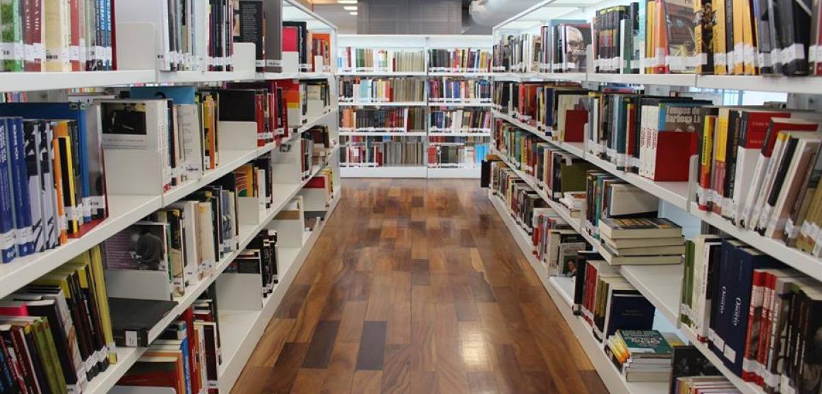 Corredor de livros nas estantes em uma das Bibliotecas Parques que o IDG fez a gestão