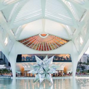 Espelho d'agua com a estrela do Museu do Amanhã na região portuária do Rio